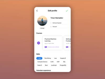 Profile settings for DailyUI mobile interface edit profile settings ux ui dailyui
