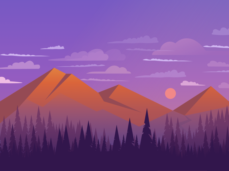 Mountains graphic design ui purple mountain nature sky design forest mountains illustration daily challange
