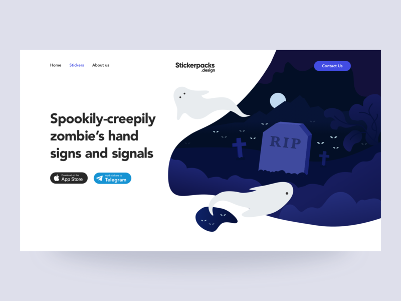 Concept for stickerpacks.design graphic design landing page illustration landing page ui landing page design landing page concept landing page interface design interface helloween illustration ui design