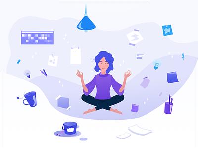 Illustration for stikerpack.design meditation create illustrations interace people purple interface charachter design girl illustration girl sketch illustrator illustration graphic design design ui