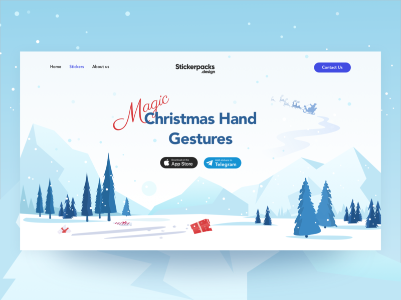 Hero for Christmas Hand Gestures Sticker pack interface design banner design banner landing design landing page hero interface illustration design graphic design ui