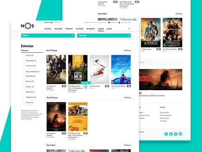 NOS Movies Premieres premieres movie theatres movies telecom bundles user experience user interface ux ui website