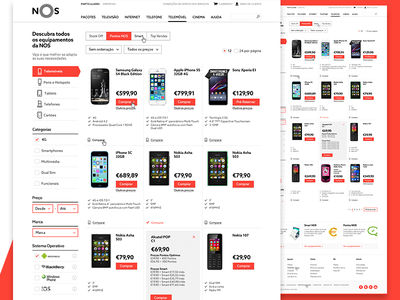 NOS Mobile Store e commerce mobile telecom user experience user interface ux ui website
