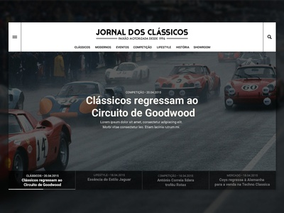Jornal dos Clássicos - Homepage vehicles classified detail page product cars vintage ux ui
