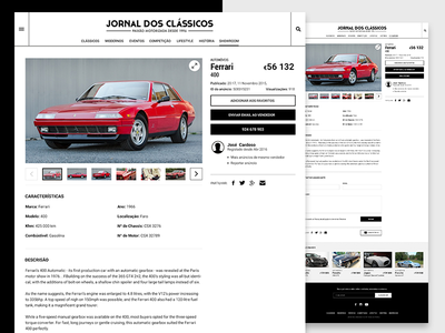 Jornal dos Clássicos — detail page vehicles vintage classified cars detail page ux ui product
