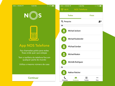 App NOS Phone product ux ui minimal contacts onboarding call app mobile