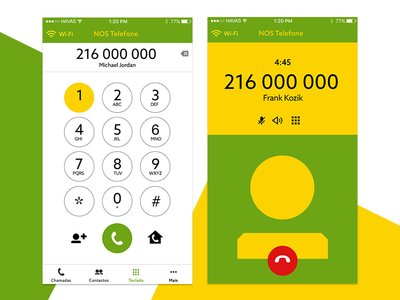 App NOS Phone - Call product mobile app call contacts minimal ui ux