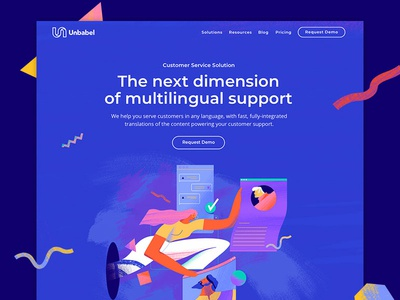 Unbabel Customer Service Solution artificial intelligence startup enterprise user interface unbabel user experience brand landing page website