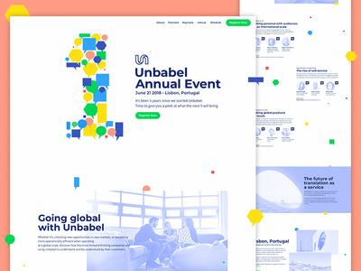 Unbabel Annual Event colorful artificialintelligence user interface enterprise unbabel branding event landing  page website