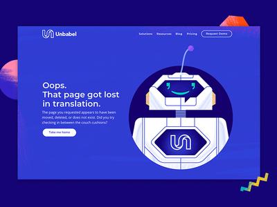 Unbabel 404 page art direction illustration website robot artificial intelligence unbabel user interface user experience ui