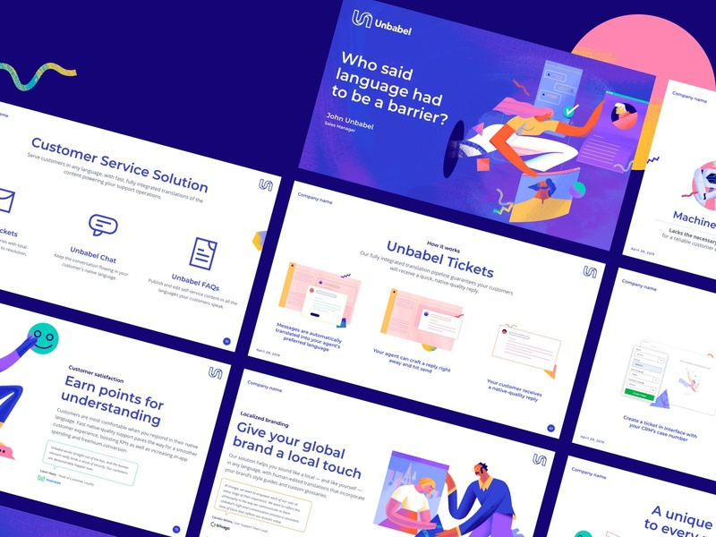 Unbabel Pitch Deck startup pitchdeck brand presentation design illustration keynote design keynote deck