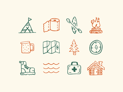 Camp Ivanhoe Icons outdoors tree cabin compass branding identity camping camp icons iconography icons camp