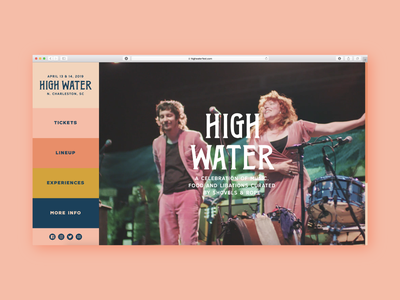 High Water Web interface charleston festival high water home page web design