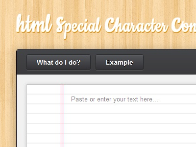 HTML special character converter html wood tool web app