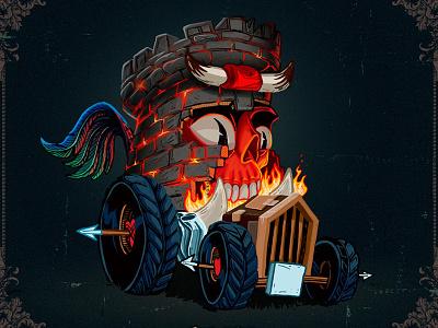 The Tower fire hell truck devil monster skull digital illustration tower card tarot