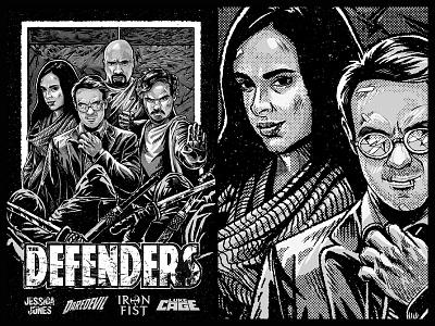 The Defenders towrz jessica jones luke cage iron fist daredevil illustration marvel netflix the defenders