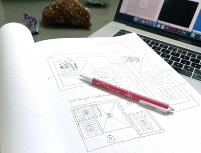 Portfolio Website Wireframe javascript html5 sass css grid personal branding notebook drawing wireframe ux design