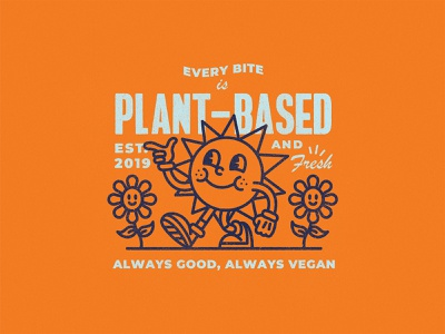Good Good Morning vibes restaurant vegan retro sun typography character vector cartoon texture branding illustration