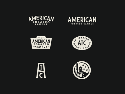 American Tobacco Campus Rebrand update badge responsive logo system logo tobacco atc illustration typography design vector branding