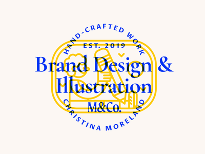 M&Co. Lockup layers patch badge moreland logotype personal typography character vector cartoon branding illustration