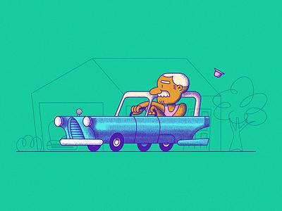 Grandpap style grandpa stipple character vector texture cartoon illustration