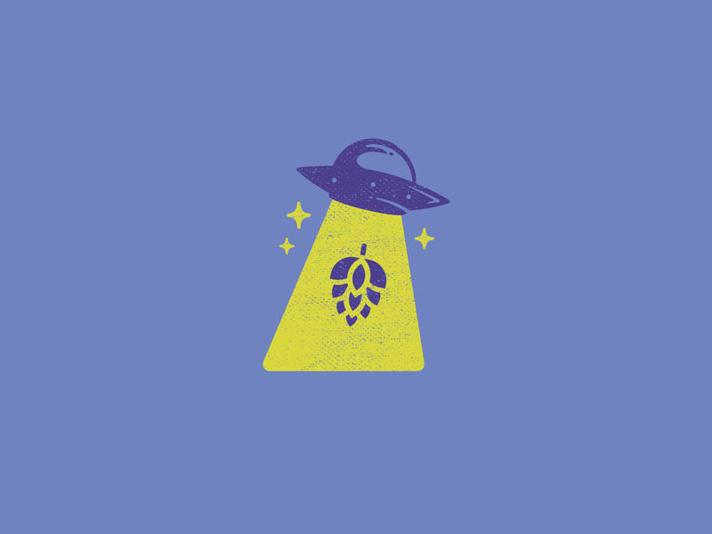 Take Me To Your Beer illustration texture beer hops space alien ufo