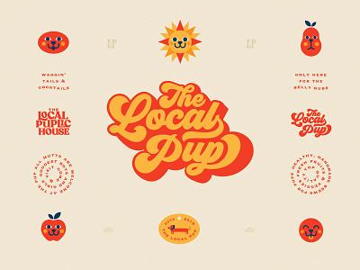 The Local Pup groovy brew bar pub orange dog design branding illustration