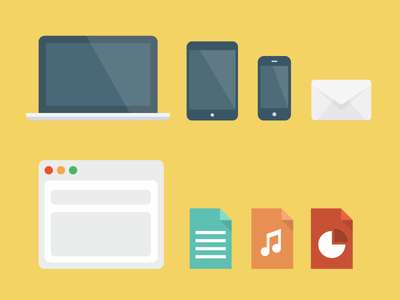flat icons simple flat icons devices email browser laptop ipad iphone music word doc