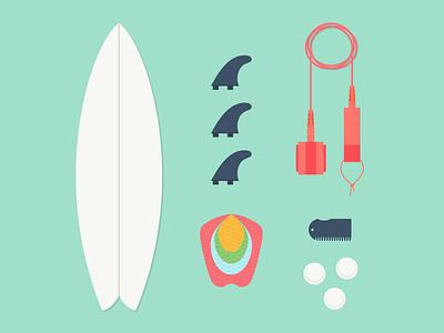 surfboard essentials flat surf surfboard surfing fins wax leash illustration