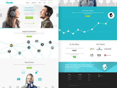 Needle Homepage website web design homepage chart clean scrolling page layout long white headphones ui