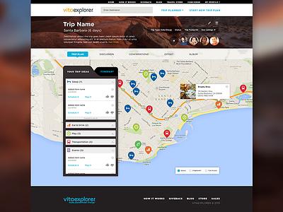Trip Planner map pins navigation tabs website ui
