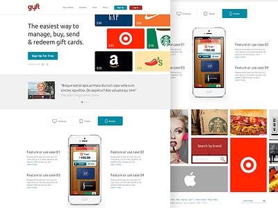 Gift Card Homepage layout clean website flat grid app scrolling gift card ui