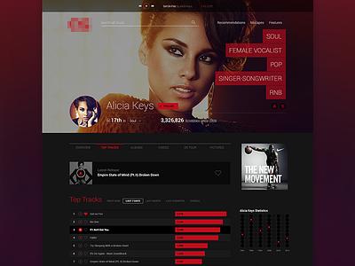 Artist Profile music profile web design tags list music player ui layout