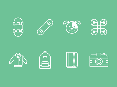 Tracking Device Icons illustration iconography skateboard snowboard dog drone jacket backpack notebook camera icon cute