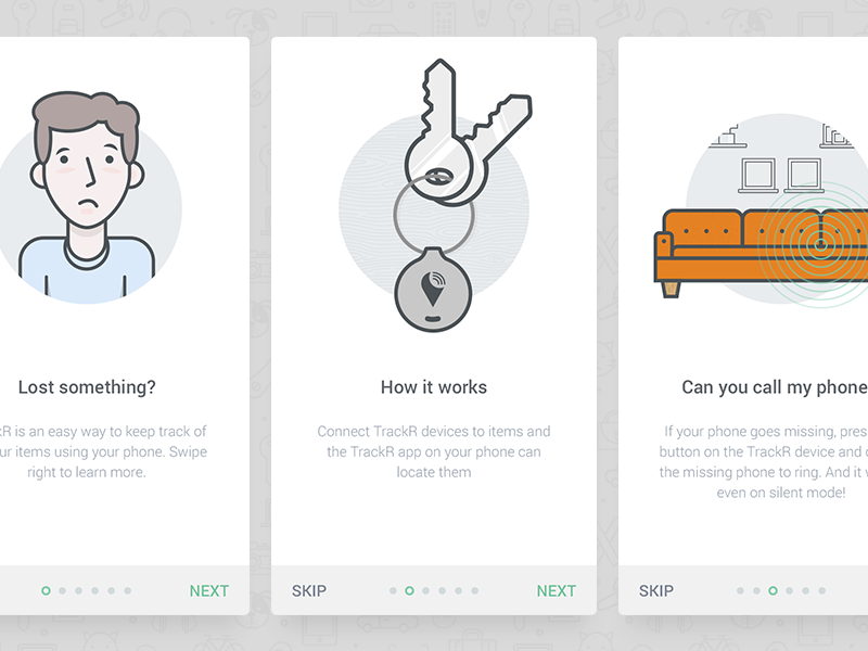 TrackR onboarding character illustrations onboarding app ios couch keys icons cute illustration mobile walkthrough