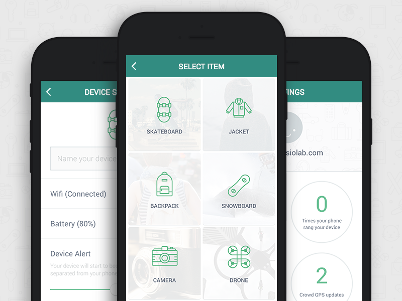 TrackR App app icons settings list stats trackr clean ui