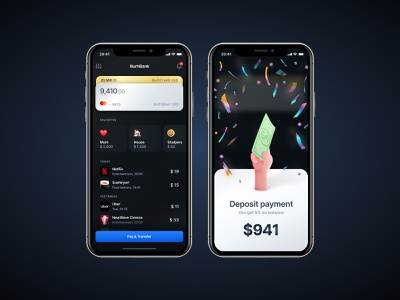 Bank app product screen home cards bonus cashback ux dark ui banking bank