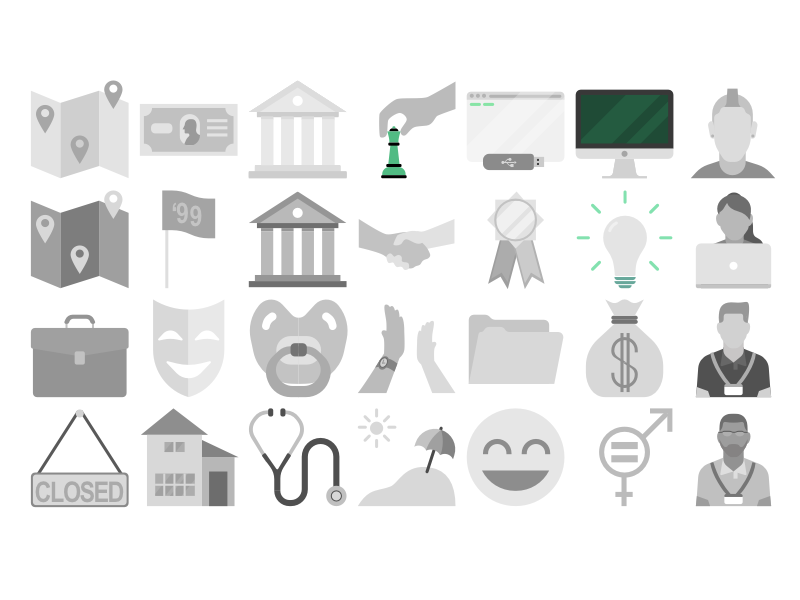 iDTech icons university work file location laptop people characters sketch illustration vector school icons