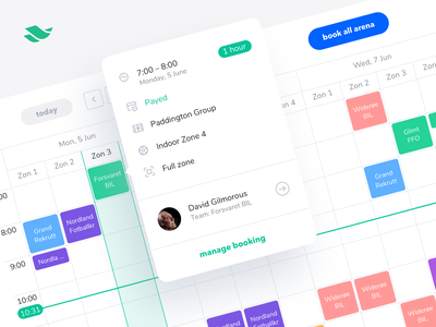 Scheduling page for the Playces admin panel web web app team coach admin panel management tracker calendar design popup filter calendar app ui ux mobile book planing sport app booking schedule