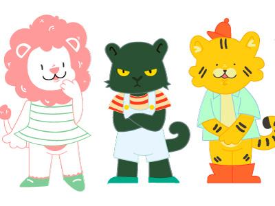 Lil Trio cats kids design cute character design