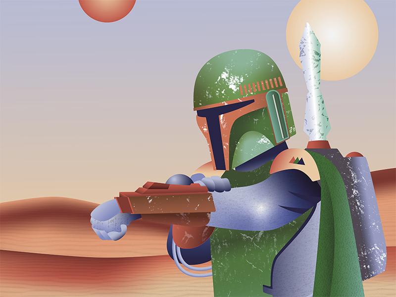 Boba Fett textures illustration star wars