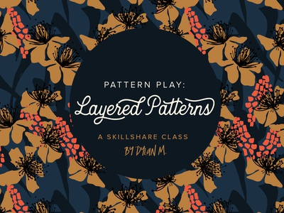 Pattern Play: Layered Patterns coral navy gold learn tutorial surface pattern repeat pattern design surface design surface pattern design
