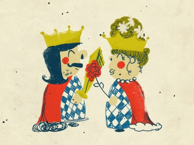 Retro Royal Duo gold blue red color primary colors characters character design illustration vintage retro