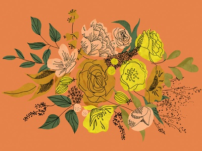Fall Bouquet for a Queen fall yellow drawing ink painting retro flowers floral illustration