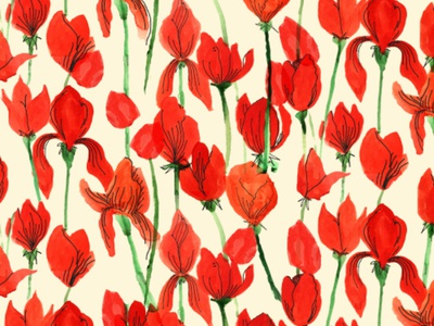 Fields of Red illustration painting bold pattern design surface pattern pattern flowers floral