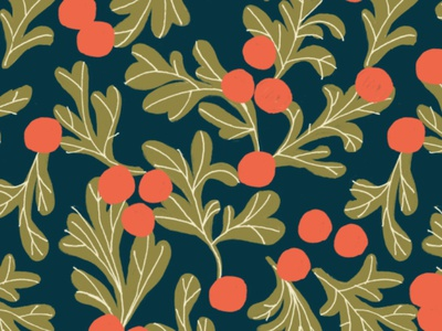 Happy Hollydays! lines paint painting retro gold red repeating pattern surface pattern holiday christmas holly