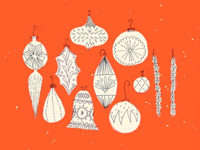 Twinkle Twinkle lines pen ink illustration painting retro red christmas ornaments baubles holidays