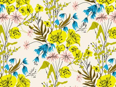 Wildflowers retro floral surface design pattern wildflowers illustrator illustration