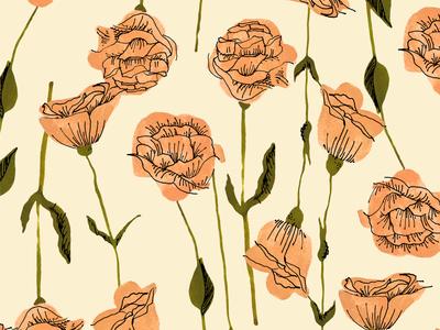 Lisianthus Light retro marker ink pen illustration flowers floral