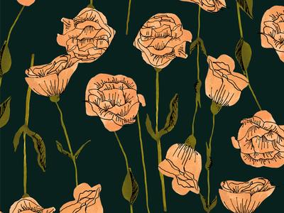 Lisianthus Dark retro marker ink pen illustration flowers floral